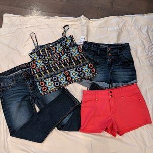 Cami Shirt shorts and  jeans bundle